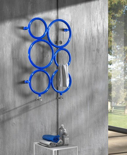 Bubbles wall-mounted towel warmer in stainless steel by Hotwave