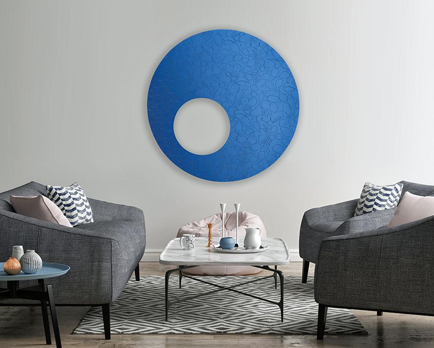 Flower Power - a blue circular wall-mounted radiator by Ridea
