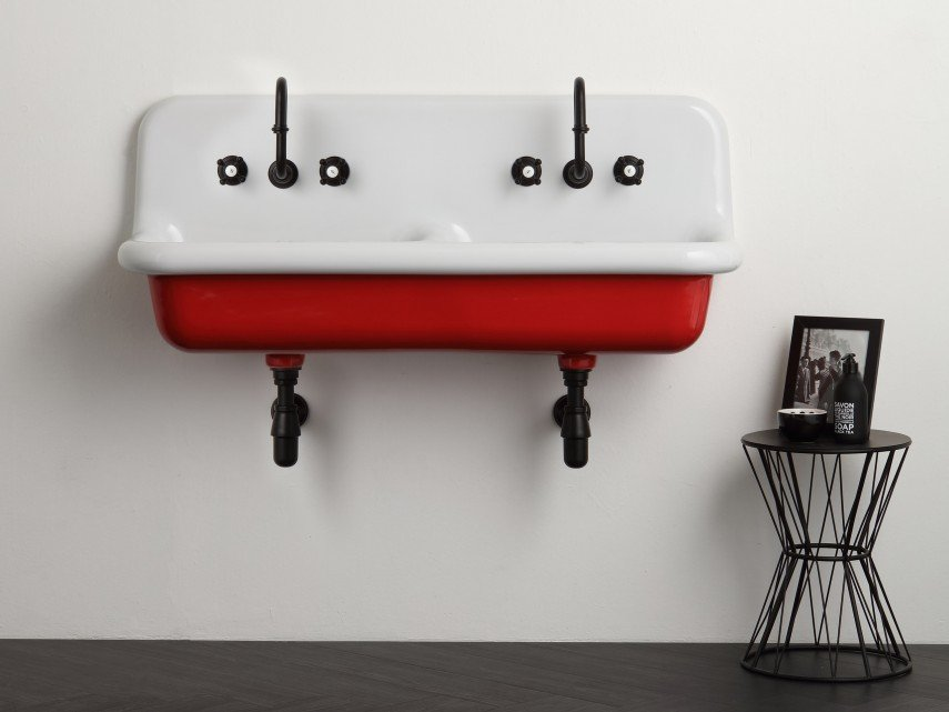 A red double industrial sink that you will fall in love with