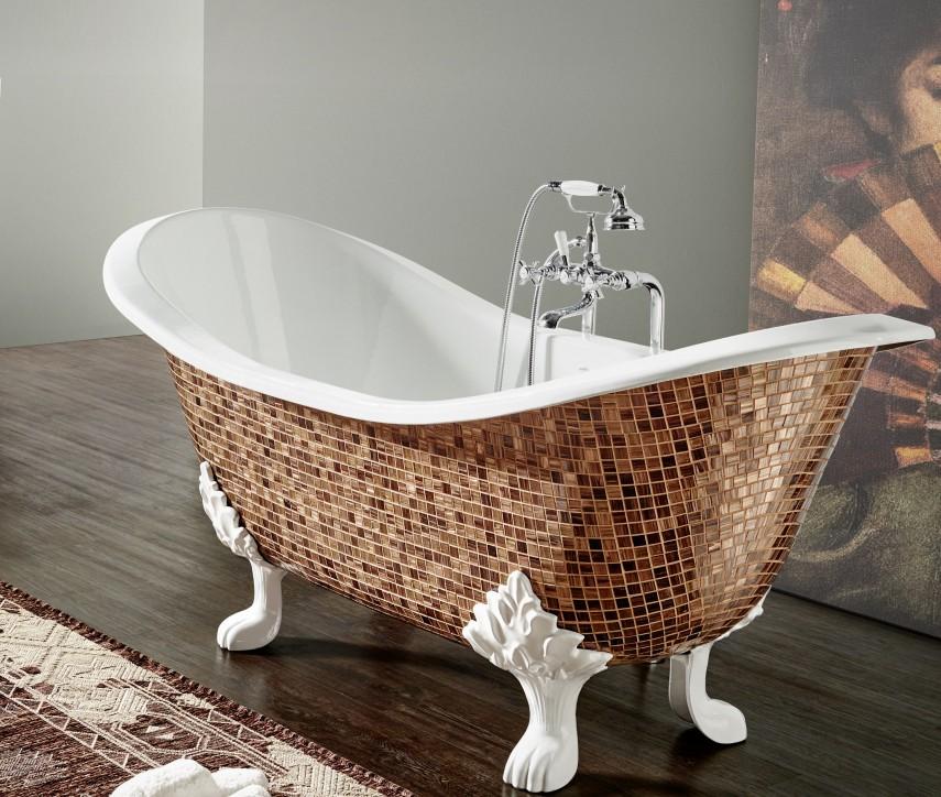 Custom mosaic bathtub with legs