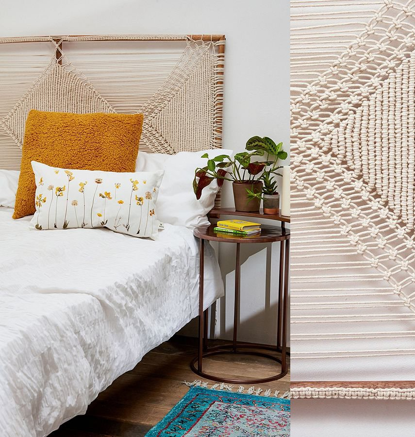 Hand-knotted Macrame makes an elegant headboard idea.