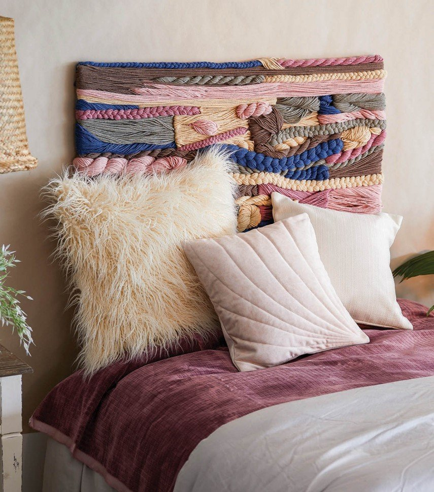 This woven headboard is a perfect mash up of styles.