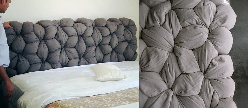 Linking Pillows joint to form an unusual woven headboard.