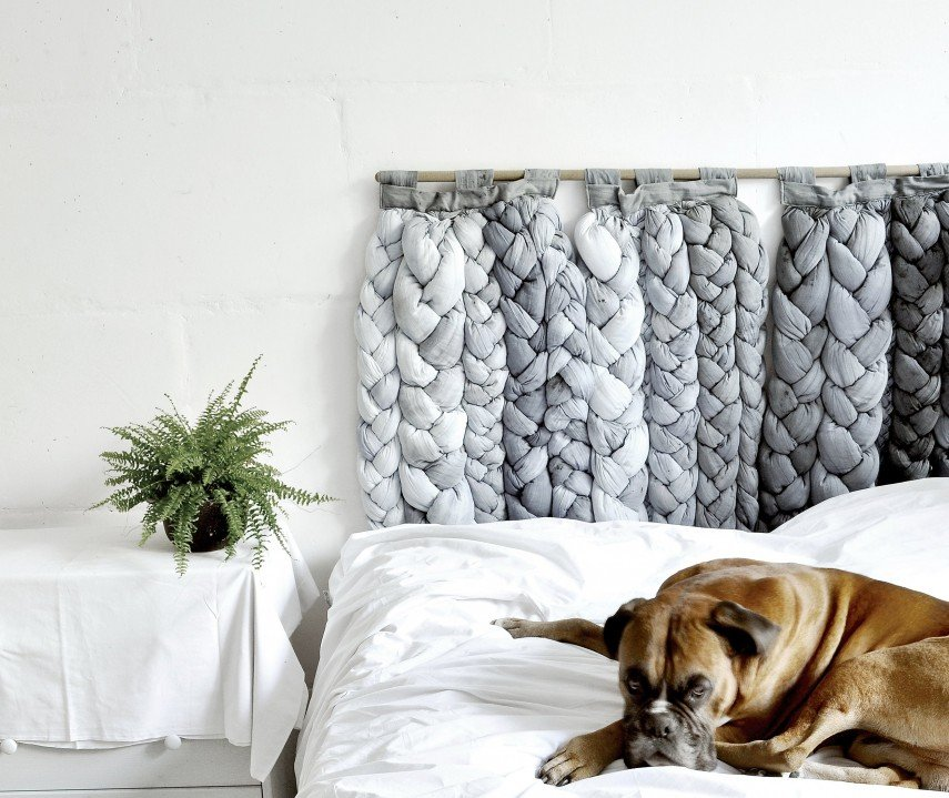 This headboard is 100% woven cotton