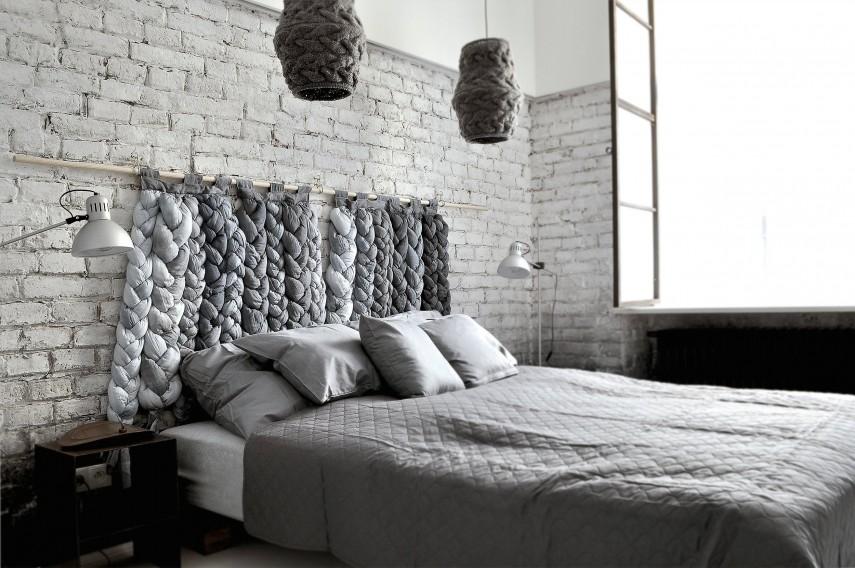 Gray DIY woven headboard