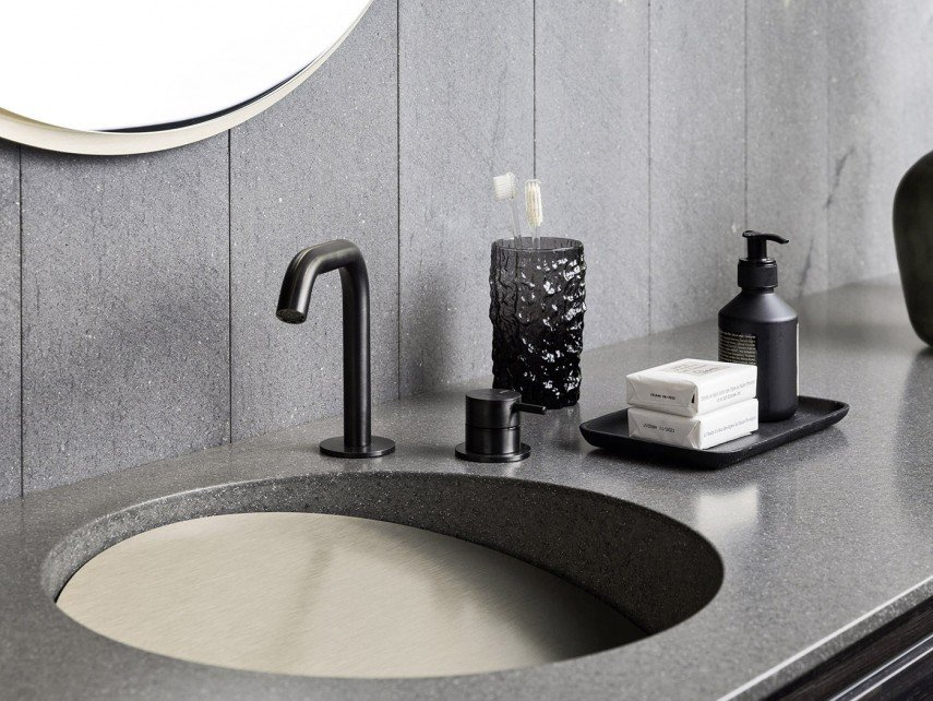 A sloped sink gives your wash basin some intrigue