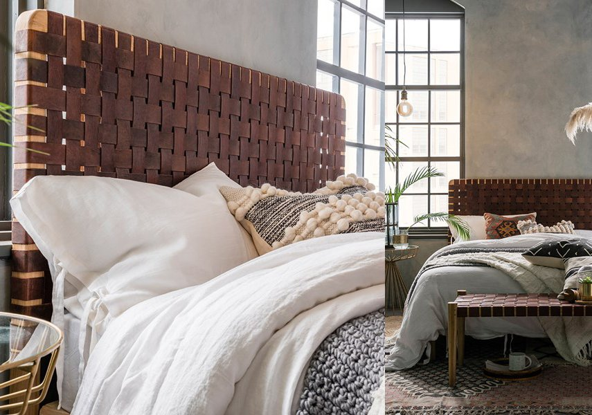 This leather woven headboard is one of our favorites, especially with the matching bench.