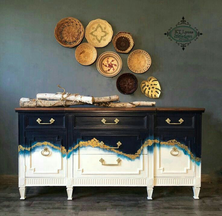 Blue, teal, white and gold make this hand painted design look like a work of art