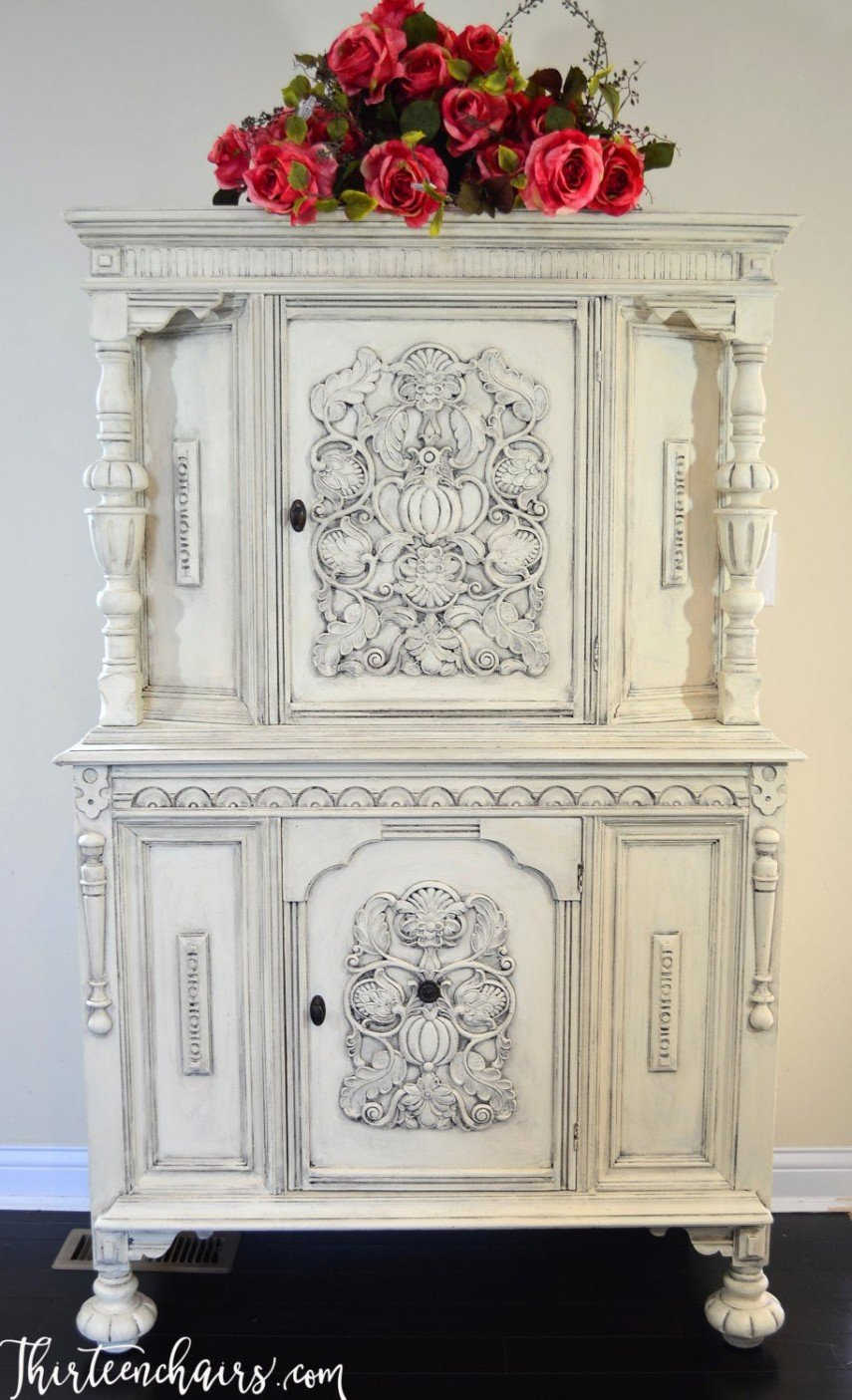 Annie Sloan white chalk paint was used on this beautiful piece