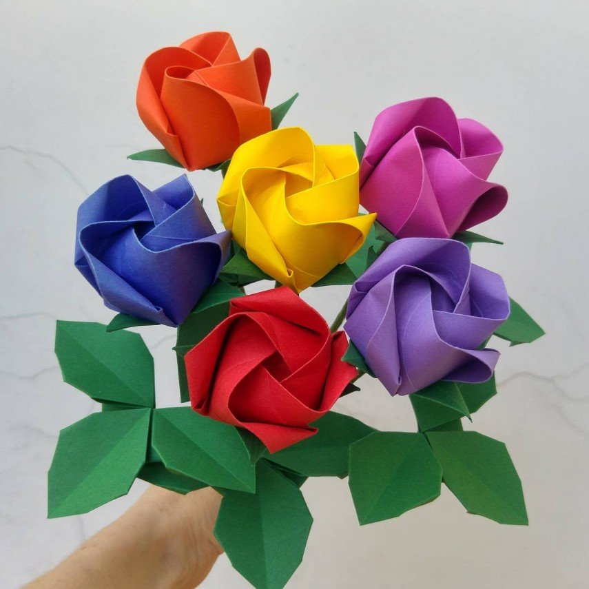Colorful faux flower bouquet in origami paper