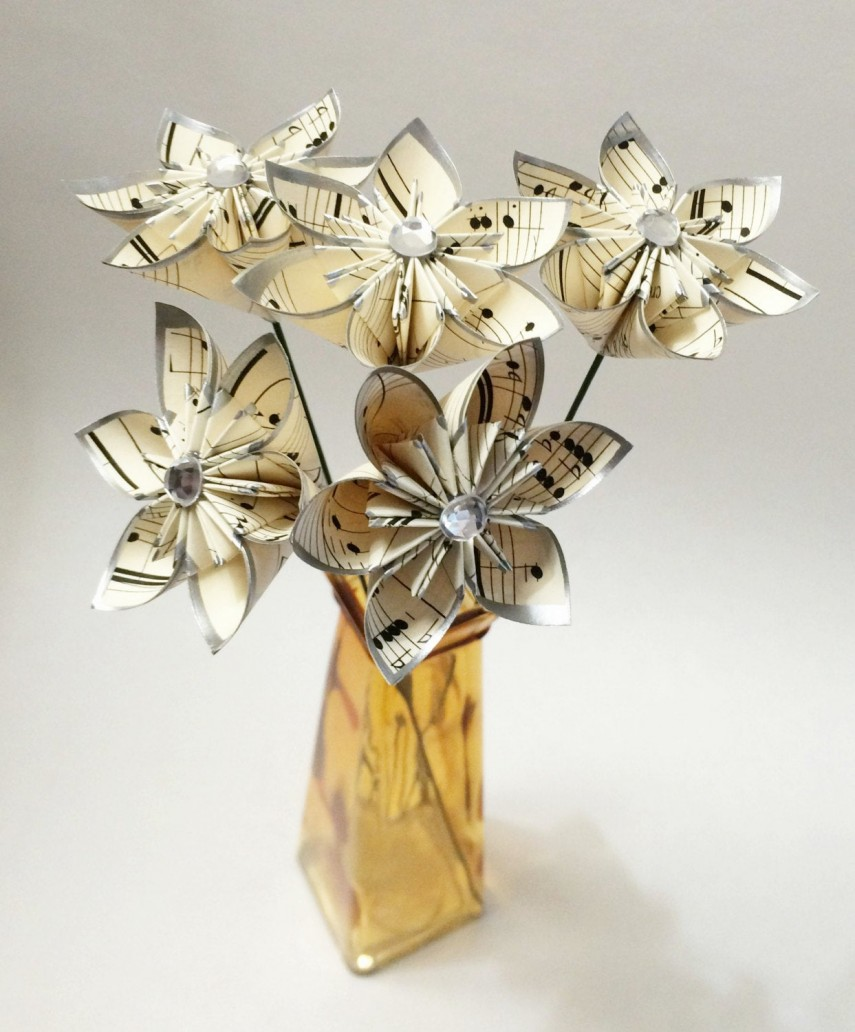 Faux flowers made with sheet music