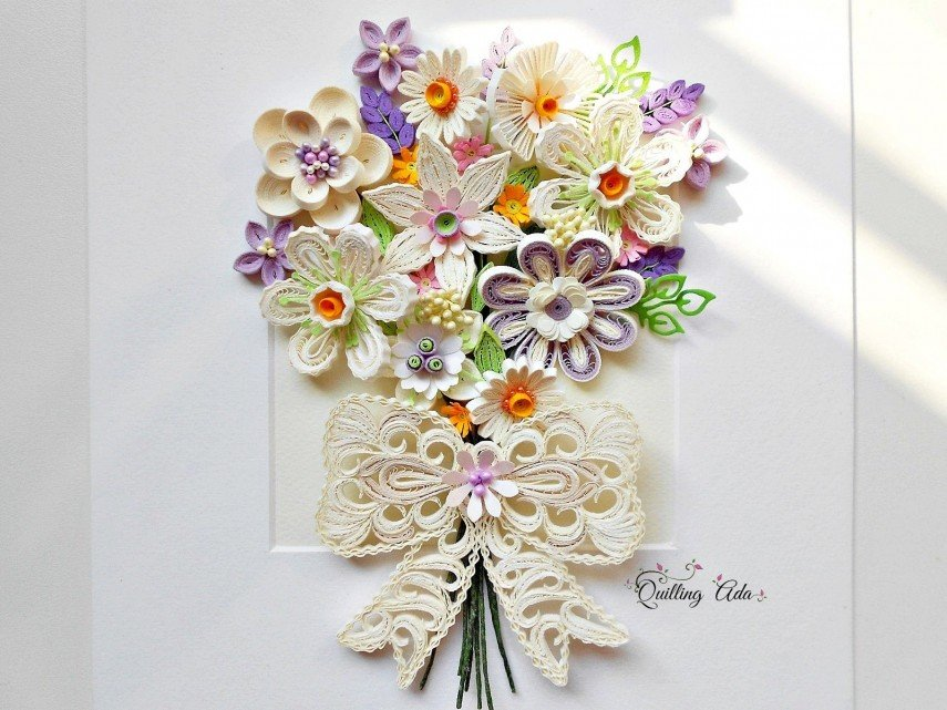 Paper flowers in white and lace - faux bouquet for the wall