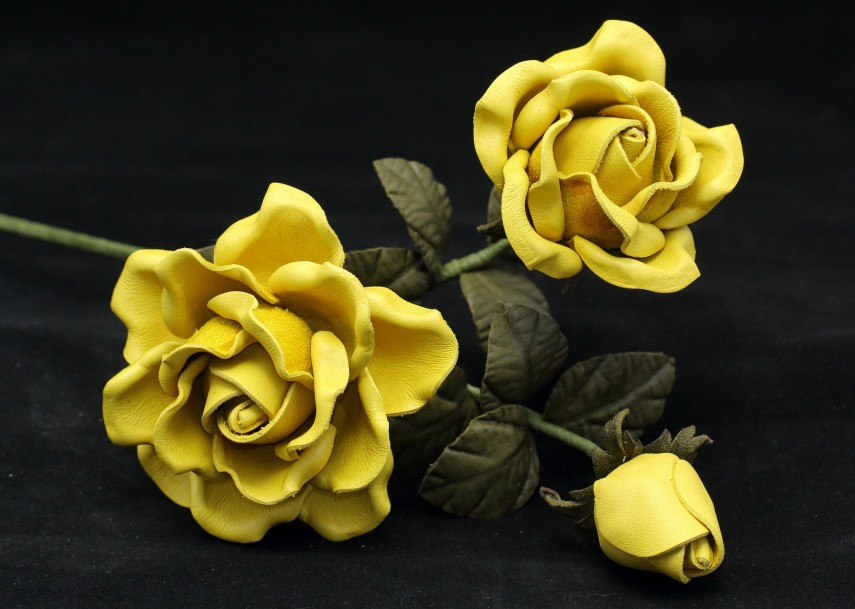 Faux bouquets of yellow roses