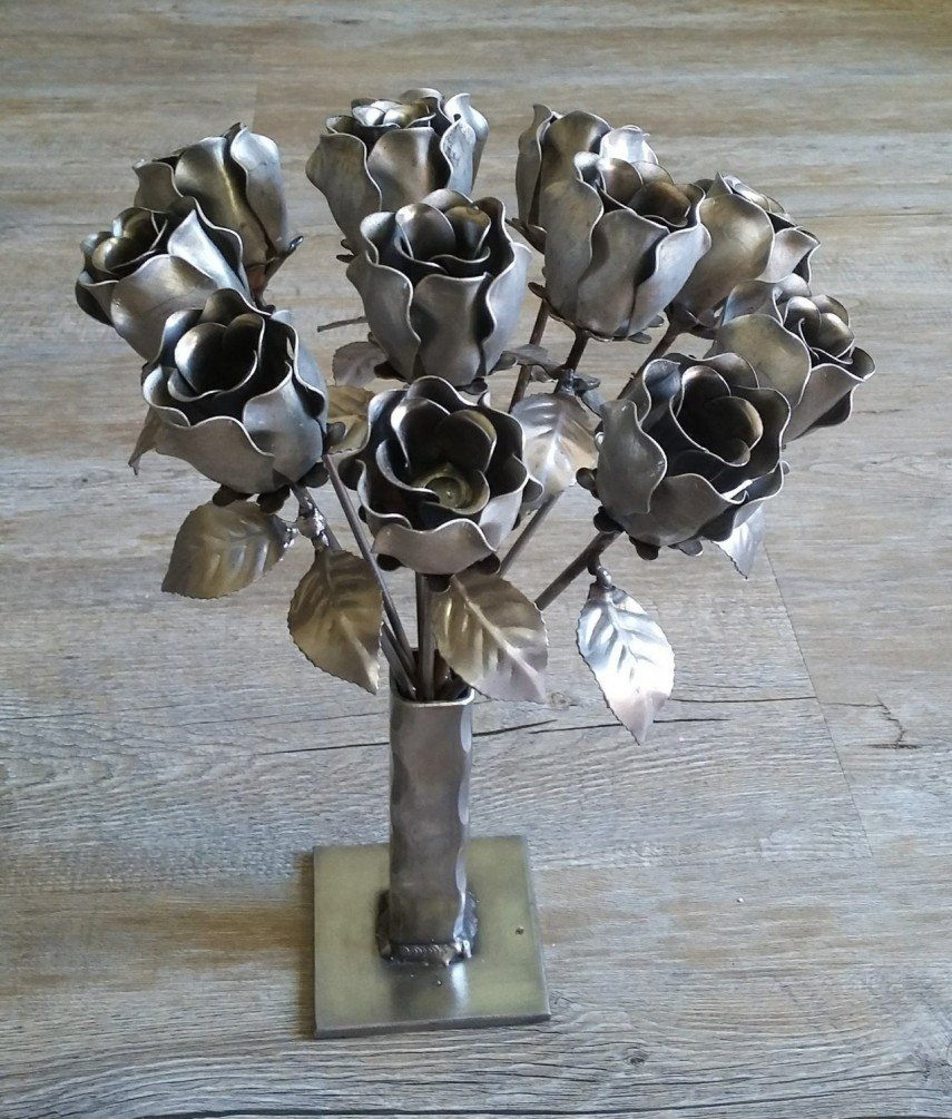 A bouquet of artificial flowers - in stainless