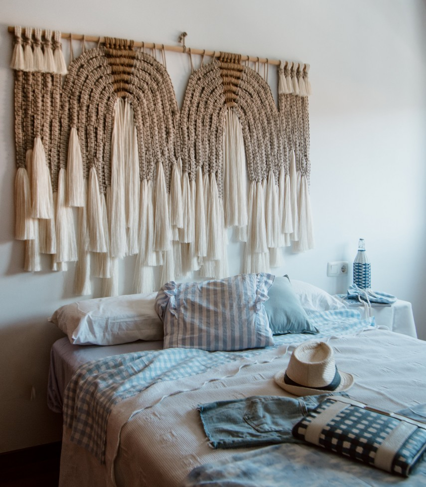 This desert inspired woven headboard is made from 100% cotton.