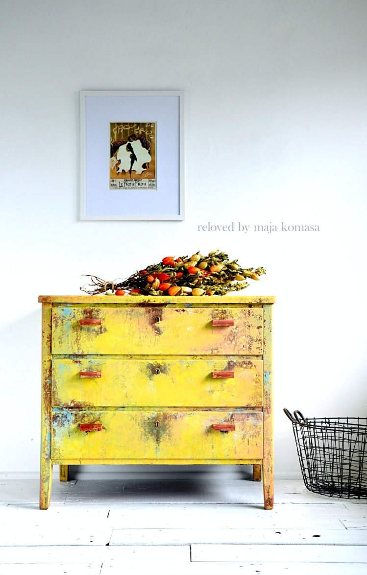 There's something about this shabby yellow dresser that we love