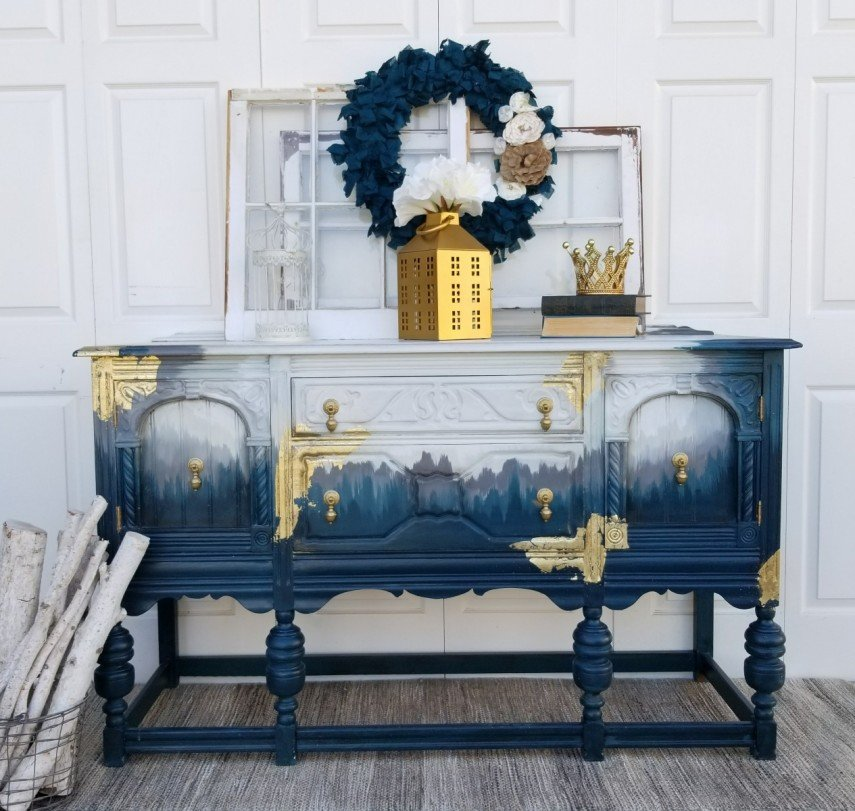 Shades of blue - with touches of gold