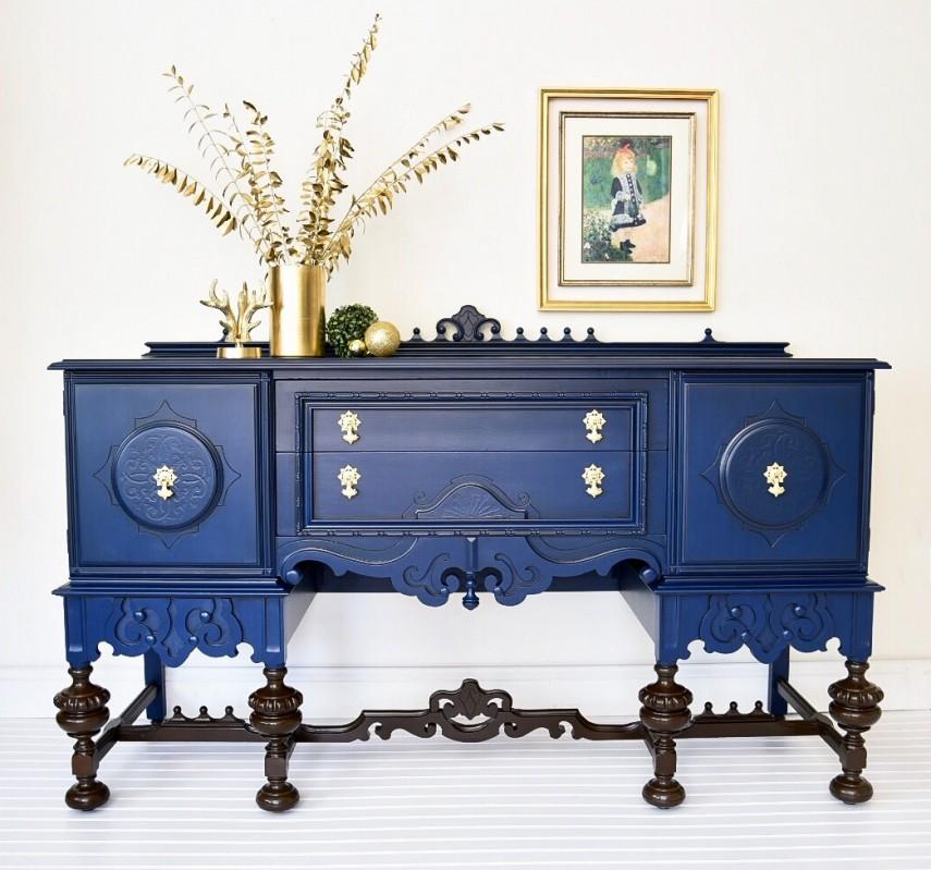 Elegant blue buffet with ornate legs