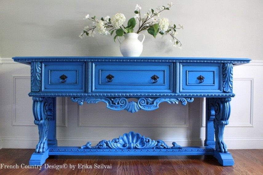 French country blue painted sideboard
