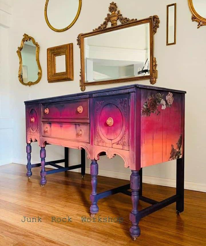 Shabby chic in rainbow colors - one of our favorite pieces of custom painted furniture