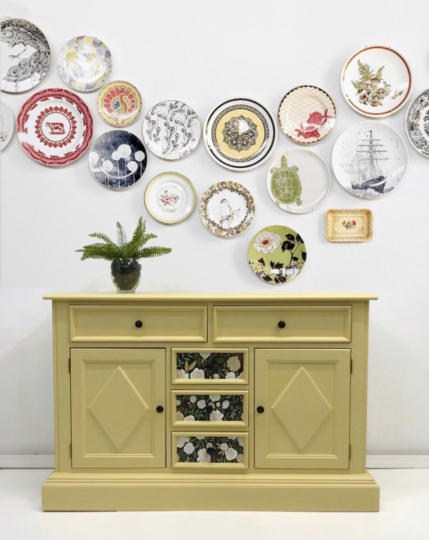 Add a hand painted design to the panels of your furniture