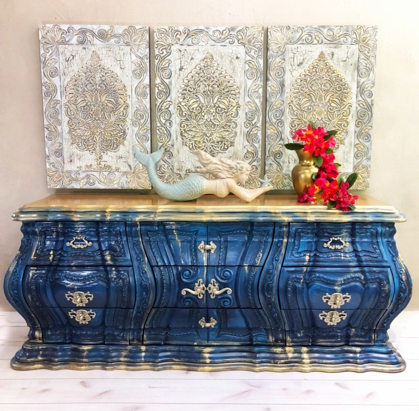 Blue and gold decorative painted furniture makes a real statement