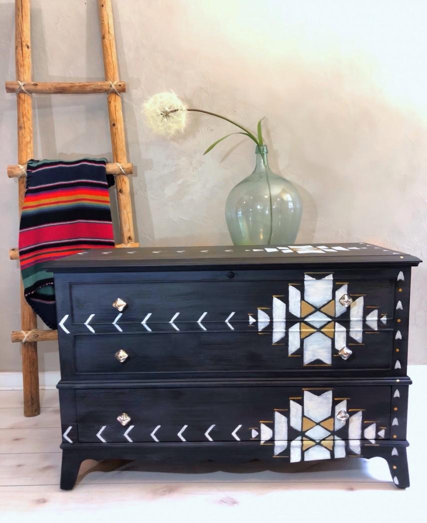 A little southwestern design on a black hand painted dresser