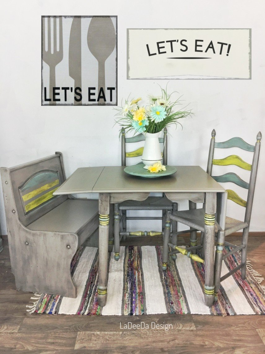 Chairs, a bench and a table - don't limit your paint ideas to side pieces