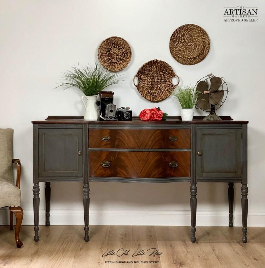 Elegant legs and wood grain elevate this sideboard design