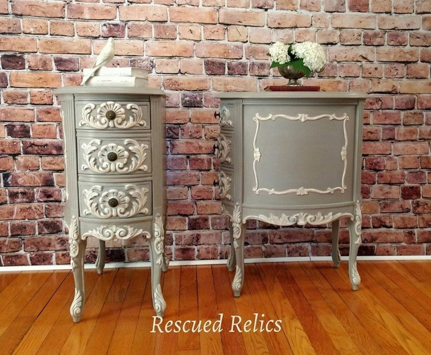 Metallic paint, highlighted in whites, bring this painted furniture to life