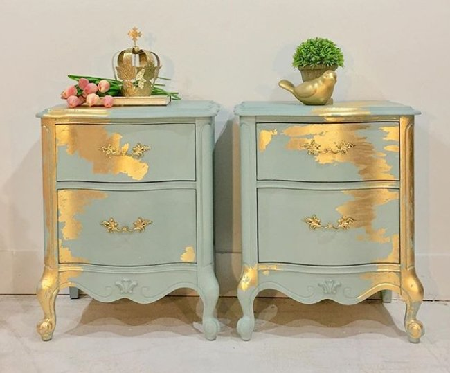 Gold swaths give an artistic touch to these hand painted end tables