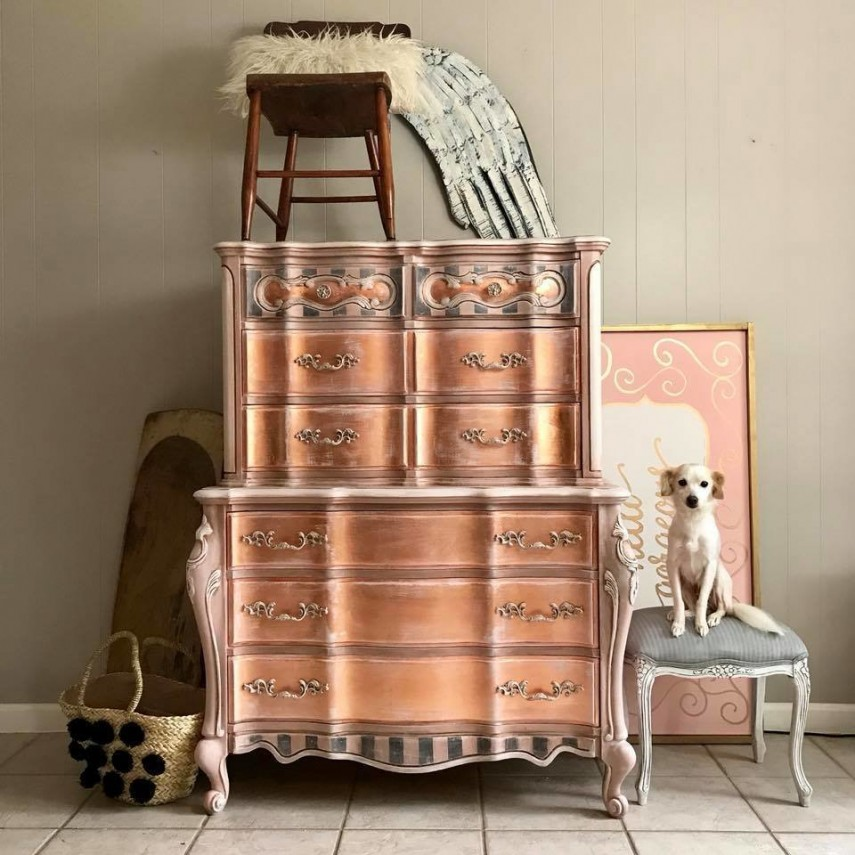 This copper painted furniture has a unique look