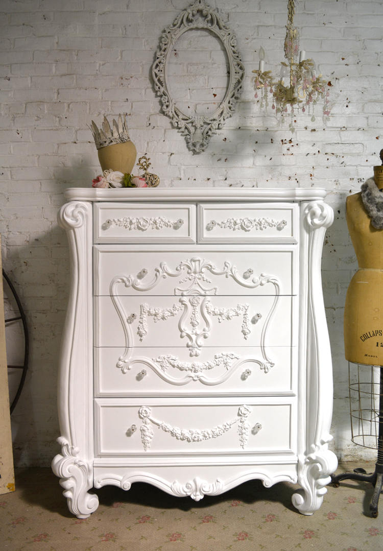This shabby chic romantic dresser is perfect in white