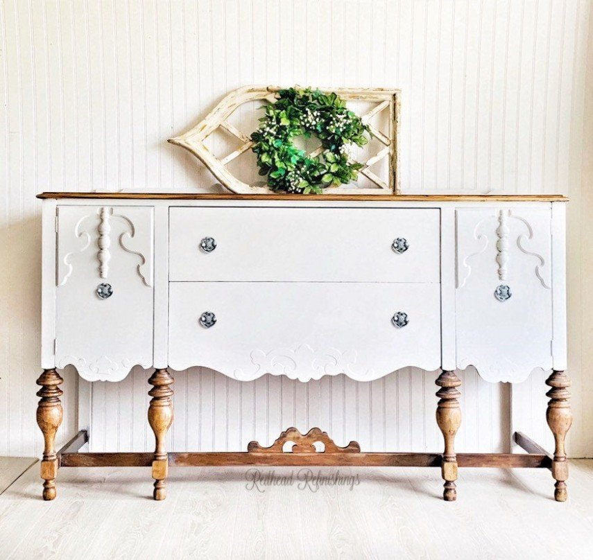 A vintage farmhouse buffet makes a perfect candidate for DIY painting