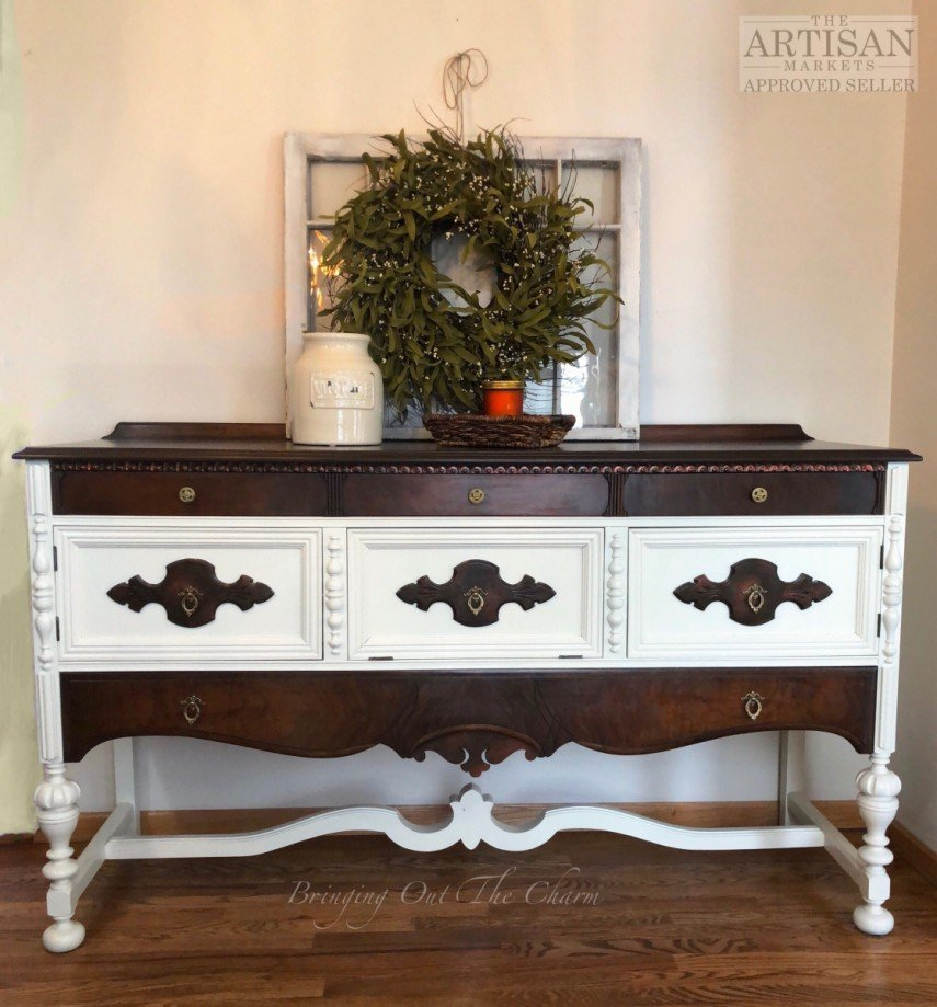 This charming piece combines white and dark wood for contrast