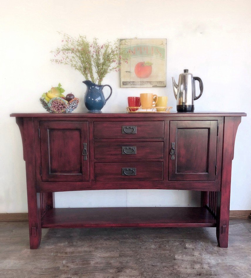 This sideboard piece has an Asian feel in red