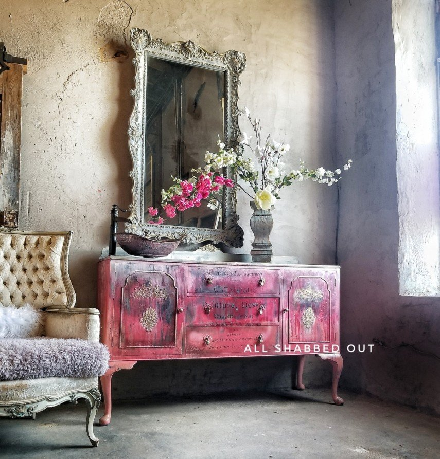 This shabby red sideboard is one of our favorite examples of vintage painted furniture