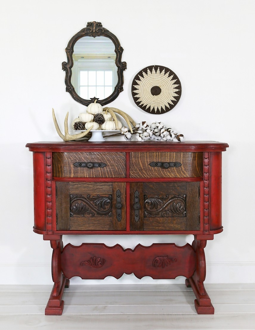 Red paint goes a long way to updating this unusual antique piece