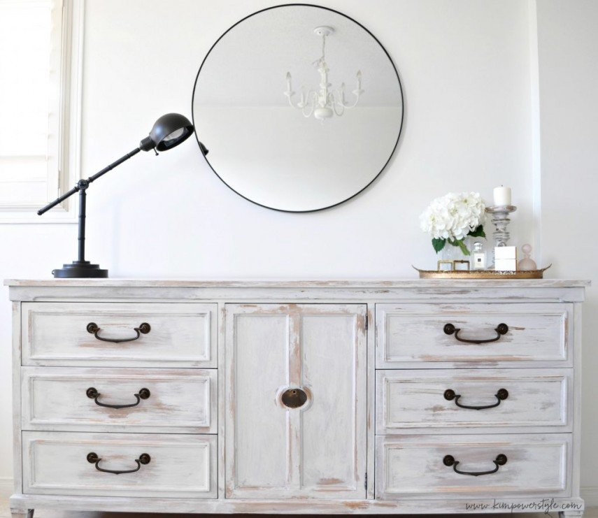 A whitewashed credenza - one of the best techniques for DIY painting furniture