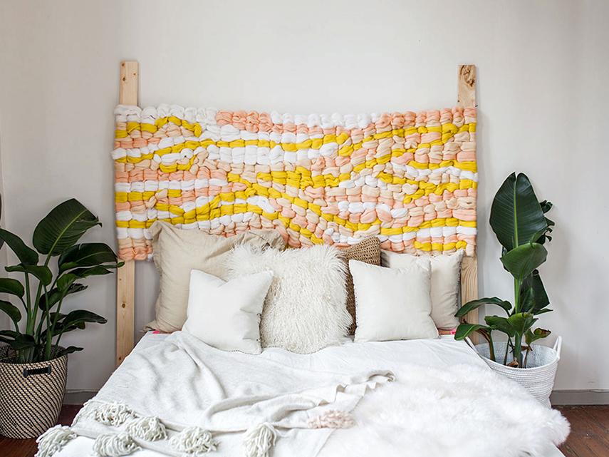 DIY tutorial for abstract woven headboard