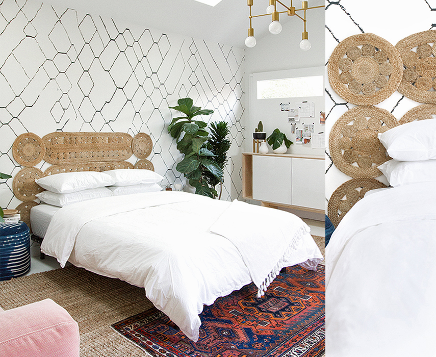 This is the woven headboard we think is the most fun - we all recognize the place mats.