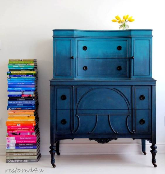 blue hombre effect on hand painted furniture