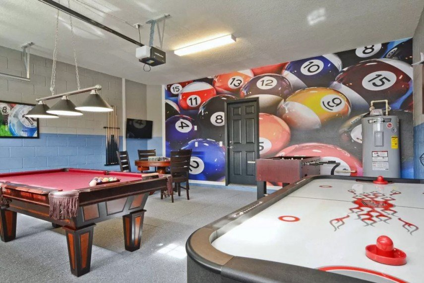 A red billiards table and pool ball wall art