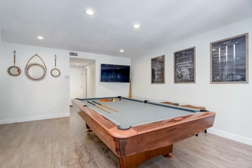 Pool Room Decor - the prints on the wall are billiard related