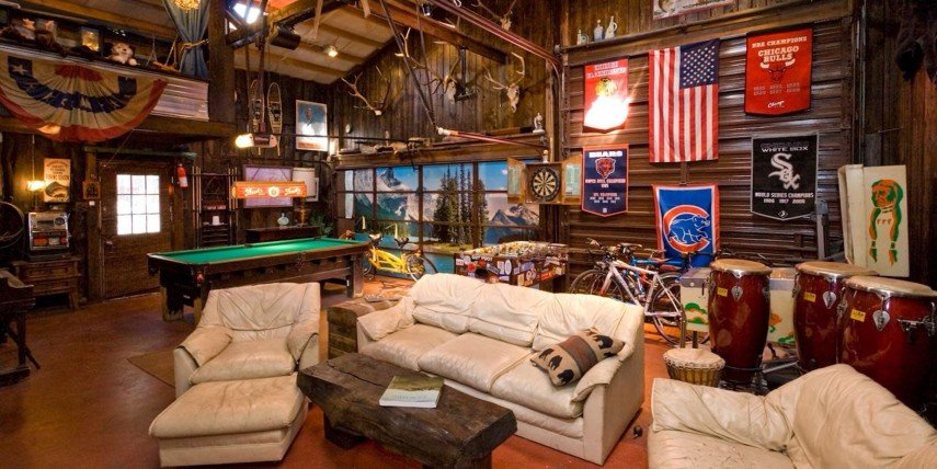Funky and rustic describe this billiards room decor