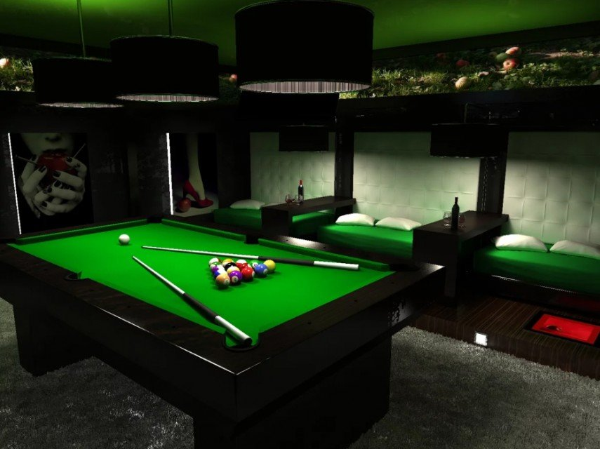 The classic pool table green is used again in the seat cushions - very well done decor