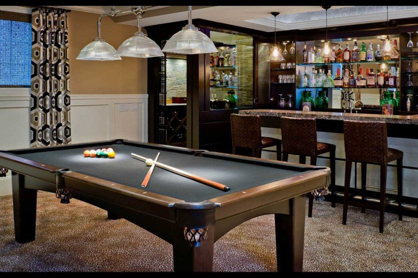 The bar can be the star of our pool room decor
