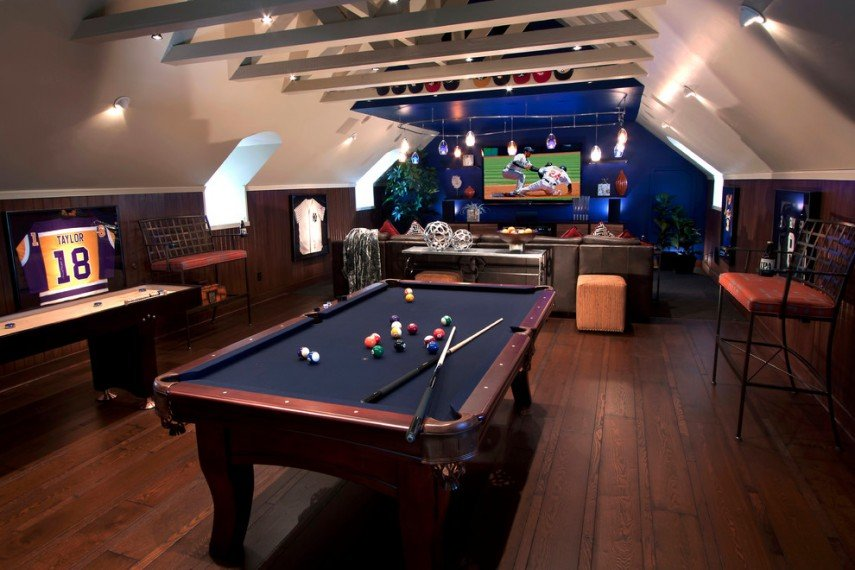 This billiards room has a real man cave style