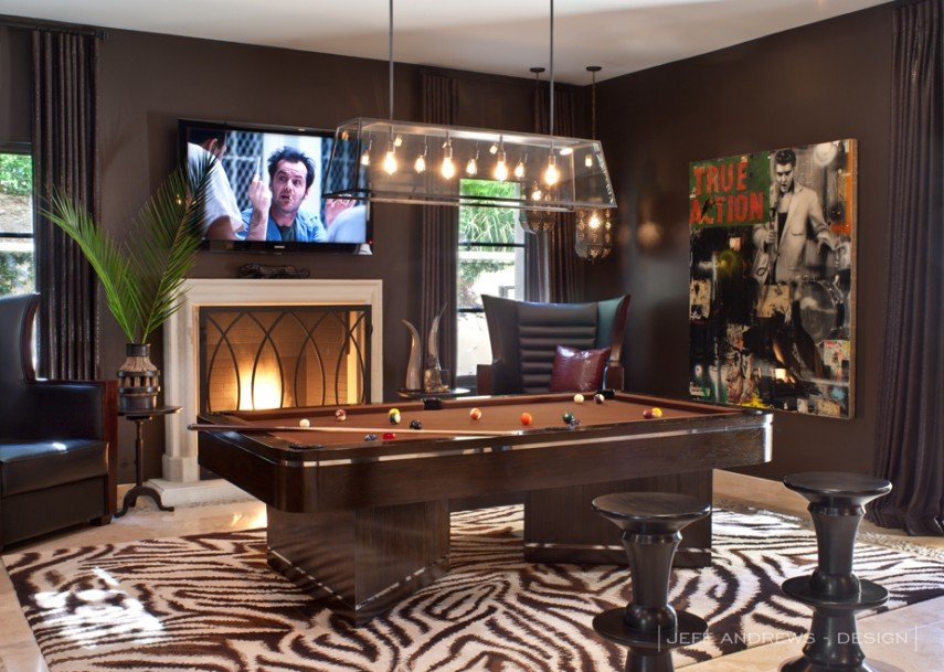 The den makes a great billiards room