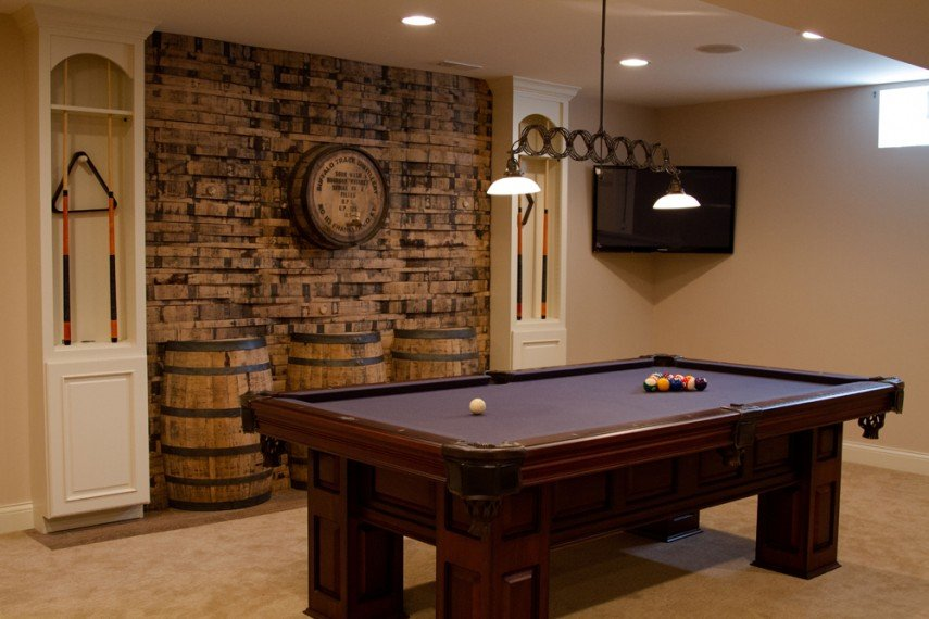 Old wine barrels make great pool room elements